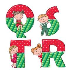 Alphabet kids QRST vector image
