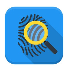 Fingerprint magnifying app icon with long shadow vector
