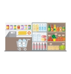 Supermarket shop interior flat vector