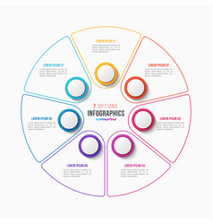 7 parts infographic design circle chart vector image vector image