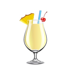 Pina colada cocktail isolated on white vector