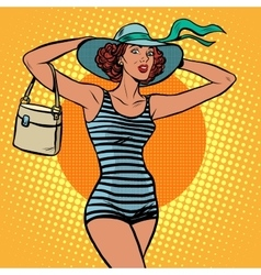 Girl retro bather vector image