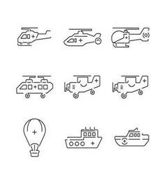 Line icons medical ambulance aircraft and ship set vector