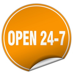 Open 24 7 round orange sticker isolated on white vector