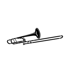 Trombone music instrument icon black simple style vector image