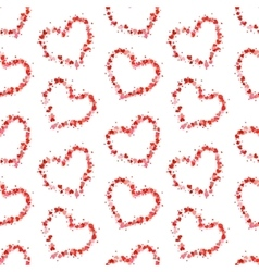 Hearts contours made up of little pink hearts on vector image