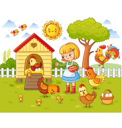 A little girl feeds chickens and hens vector