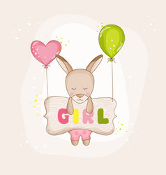 Baby girl kangaroo with balloons - baby shower vector