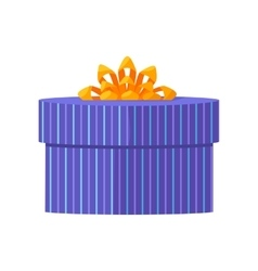Blue gift box with yellow ribbon vector