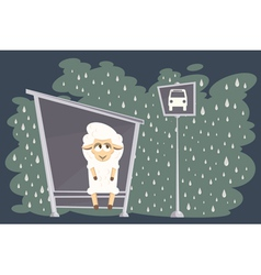 Card with baby lamb waiting for the bus vector