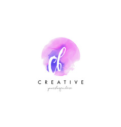 Cb watercolor letter logo design with purple vector