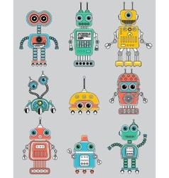Colorful cut retro robots set vector