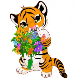 Cute tiger cub with flowers vector