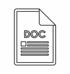 Doc file format icon outline style vector