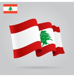 Flat and waving lebanese flag vector