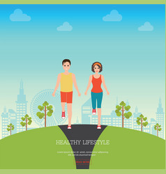 front view of man and woman jogging together vector image