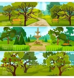 Garden landscape banners vector