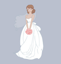 hand drawn beautiful bride with a flower bouquet vector image vector image