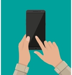 Hand touching screen of black smartphone vector image vector image