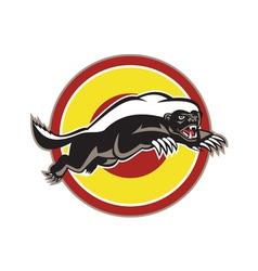 Honey badger mascot leaping circle vector