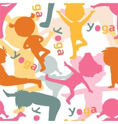 Kids doing yoga silhouettes pattern vector