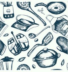Kitchen ware - hand drawn seamless pattern vector