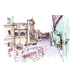 marker drawing of Rome Italy street landscape vector image