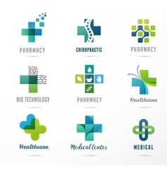 medical healthcare and pharmacy icons vector image vector image