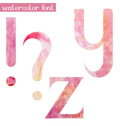 Pink spring watercolor font yz and marks vector