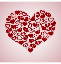 Red valentine hearth love symbols in big hearth vector