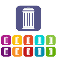 Trash can icons set vector