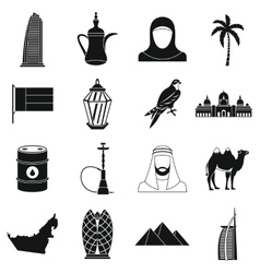 UAE travel icons set simple style vector image vector image