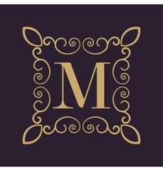 Monogram letter m calligraphic ornament gold vector