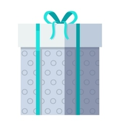 Silver gift box with green ribbon vector