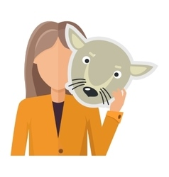 Woman Character in Jacket with Wolf Mask in Hand vector image