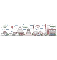 Travel in china country line flat design banner vector