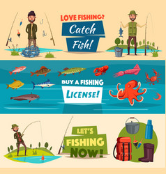 Fishing banner set with fishermen and fish vector
