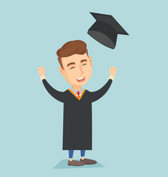 graduate throwing up graduation hat vector image