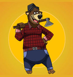 Cartoon character bear dressed in the clothes vector