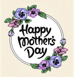 Happy mothers day card with text and frame of vector