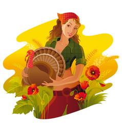 Autumn thanksgiving landscape background young vector