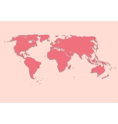 Paper world map on pink background vector