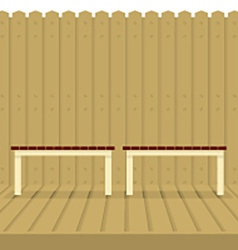 Empty chairs on wood wall and ground vector