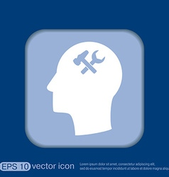 Icon head think silhoutte man and his mind about vector