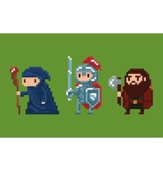 Pixel art style wizard knight and vector