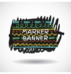 Black markers strokes banner vector