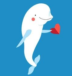 Love with a dolphin with a heart vector