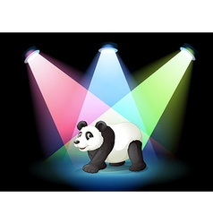 A stage with a giant panda vector image vector image