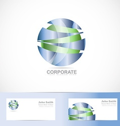 Abstract corporate blue green sphere logo vector image
