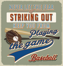 Baseball striking out vector